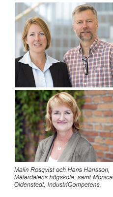 Malin Rosqvist och Hans Hansson, Mdh, samt Monica Oldenstedt, IndustriQompetens