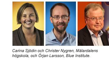 Carina Sjödin och Christer Nygren, Mälardalens högskola, och Örjan Larsson, Blue Institute.